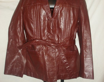 Vintage Ladies Berman's Maroon Leather Jacket Coat with Removable Lining Woman's Size 18
