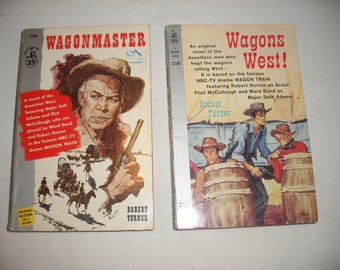 Vintage Wagon Train Inspired Paperback Books, Wagons West and Wagonmaster from the 1950's