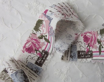 Cotton Linen Pink Rose Flower Floral Butterfly Ribbon Trim Vintage Like Shabby Chic Baby Doll Pageant Quilt Bridal Sash Clothing
