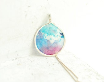 Ocean Storm Mini Painting Abstract Pendant Necklace Sterling 1st Anniversary Gift Paper Jewelry OOAK Sea Water Crashing Waves Abstract