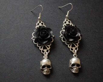 Gothic flower filigree skull earrings wictorian