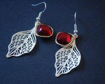 Silver leaf and ruby rhinestone earrings