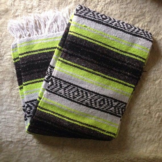 Vintage Serape Mexican Saltillo Blanket Rug Neon Yellow