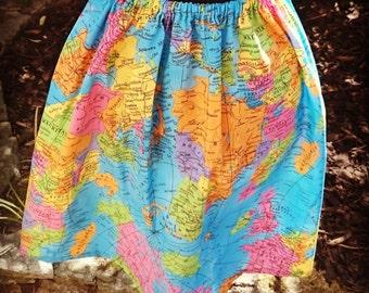 Handmade World Map Atlas Print Vintage Style Skirt