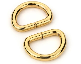 """10pcs - 5/8"""" Metal D Rings Dee Rings Non Welded Gold - Free Shipping (D-RING DRG-152)"""
