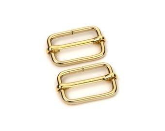 """50pcs - 1"""" Adjustable Slide Buckle - Gold - Free Shipping (SLIDE BUCKLE SBK-117)"""