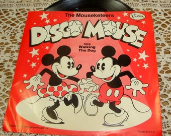 Vintage Child's Record, The Mouseketeers, Disco Mouse, Walking The Dog, Walt Disney's Productions Vista Records, 1977, Mickey Mouse (391-15)