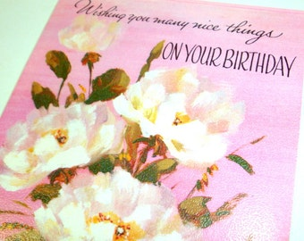 Vintage Happy Birthday Greeting Card, Pink, Bouquet White Flowers, Fantusy, Unused Old Card, Retro