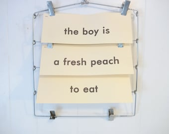 Vintage Word Phrase Flash Cards..the boy is..a fresh peach..to eat..Vintage Word Cards..Flash Cards..Mixed Media Supply..Altered Art Supply