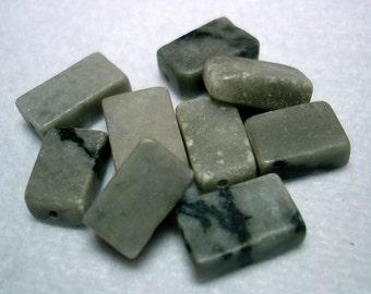 Grey Black Marble Rectangle Stone Beads (Qty 8) - B2857