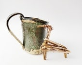 Adorable Hobbit Mini Mug, Tiny Rustic Green and Brown Pottery, Small Mug, 5 ounce, Primitive Cup, Expresso