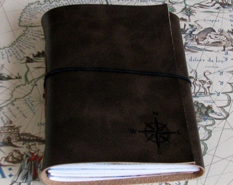explorer journal with maps a travel journal - dark brown - gift for graduation, retirement, dad - tremundo