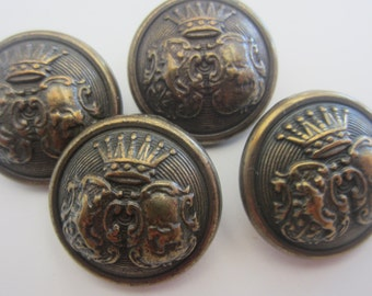 Vintage Buttons - heavy weight matching dark bronze crown royal pressed design, lot of 4 (apr 30)