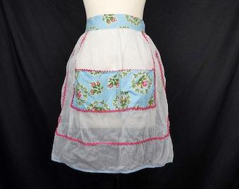 Vintage Blue Sheer Floral Half Apron 60s Kitchen Apron