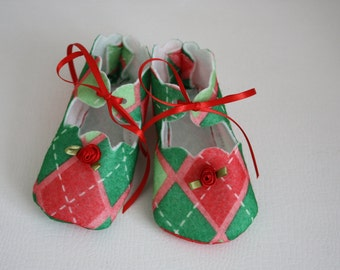 Cute Green and Red Felt Baby Shoes