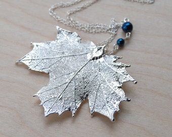 Medium Fallen Silver Maple Leaf Necklace | Electroformed Jewelry | Silver Maple Pendant | Nature Jewelry | REAL Maple Leaf Charm