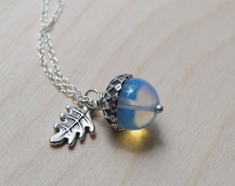 Opal and Silver Acorn Necklace   Glass Opal Gemstone Necklace   Fall Acorn Charm Necklace   Cute Acorn Pendant