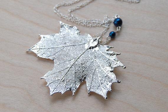 Medium Fallen Silver Maple Leaf Necklace - REAL Maple Leaf