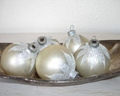 creamy white snow capped shiny brite glass Christmas ornaments - antique tree decorations - shabby cottage chic set of 3 - hollywood regency
