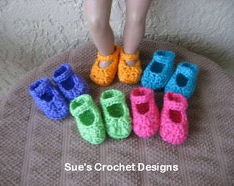 Crochet Doll Shoes for Bitty Baby and American Girl Doll - 5 for price of 1 - Lot 3