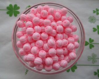 Striped resin beads 40pcs Light pink 8mm