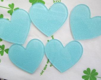 Glitter heart acrylic cabochons 4pcs 45mm x 42mm Light blue Sky blue new item