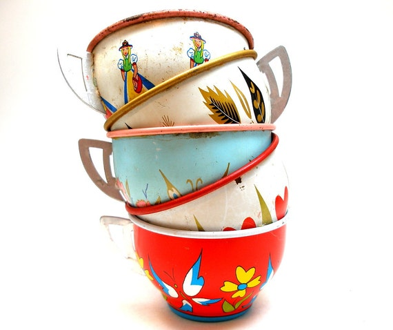 50s Tin Toy Tea cups, Heart, Maids, Butterflies on 5 metal. Instant Collection.