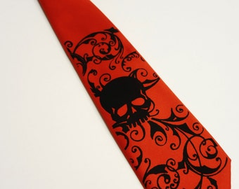 Red Boys Skull necktie - pre tied 14 inch long boy's skull tie