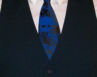 Skull wedding neckties - 4 mens ties - 1 boys tie print to order in colors of your choice