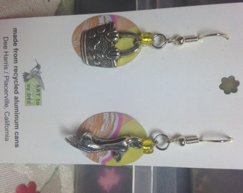 purse/shoe recycled can earrings