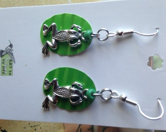frog recycled can earrings