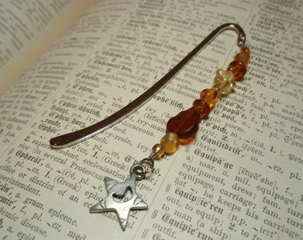 Star and Moon Charm Tiny Golden Amber Beaded Bookmark