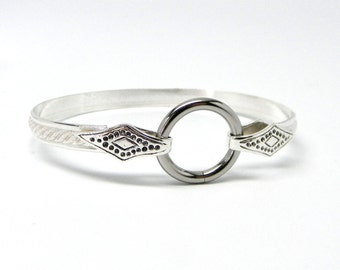 In Stock Ships Now Rope Textured Sterling Silver Slave Cuff With Stainless Steel Locking Clasp