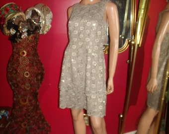 Vintage  90s Flapper Dress  Lace  Metallic  Tea party Holiday  Size 12