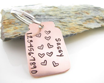 Pet Tag - Jar Full of Love - Custom Hand Stamped Copper