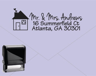 FREE US SHIPPING * Self Inking Return Address Stamp * Custom Address Rubber Stamp (E032) House housewarming