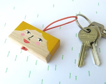 SALE - wooden key chain - girl