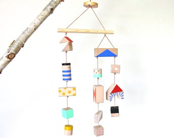 SALE -- Nursery mobile - wooden handpainted geometrical shapes for decoration