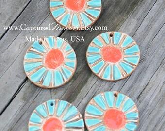 Pottery Pendant Bead with Flower in Aqua Fresca and Tango Orange