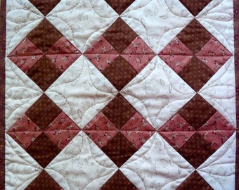 Doll Quilt, Pink and Brown or Purple