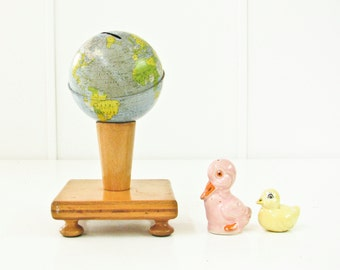 Bank Globe on Wood Pedestal, Handmade Stand, Tin World Bank