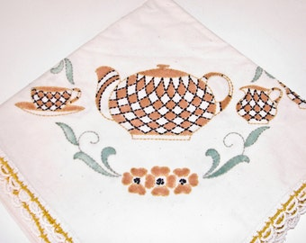 Vintage Teapot Tablecloth ,  Stitched Design, Crochet Edge, Colorful Tea Time or Breakfast Tablecloth