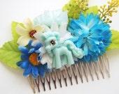 My Pretty Blue Pony Floral Hair Comb -  Kitsch Cute Bright Chunky Chic Fun OOAK MLP