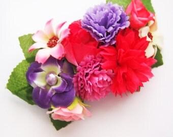 Bright Hot Pink and Purple Fairy Floral Barrette -  Statement Piece Unique Woodland Fantasy OOAK Fae Wedding