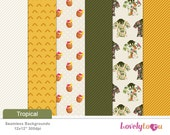 Tropical summer, Digital paper pattern background designs, yellow, green (TPS155)