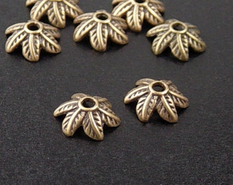 CLEARANCE Bronze Bead Cap 50 Antique Bronze Leaf 6-Petal point 11mm  NF (1102cap11z1)os