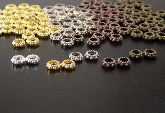 Bead Spacer 140 CHOICE Shiny Silver, Shiny Gold, Antique Silver, Antique Copper, or Bronze Daisy Flower 6mm x 3mm Hole 3mm NF (1035spa06s1)