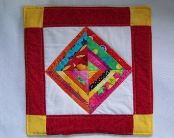 Mug Rug Coaster or Mini Quilt Bright and Scrappy Triangles