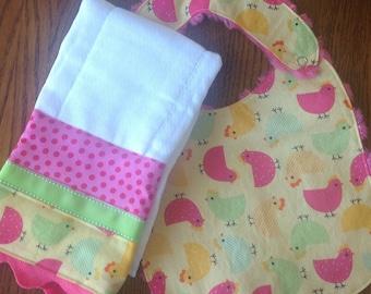 Adorable Chicken/Hen Minky Baby/Toddler Bib and Burp Cloth Set