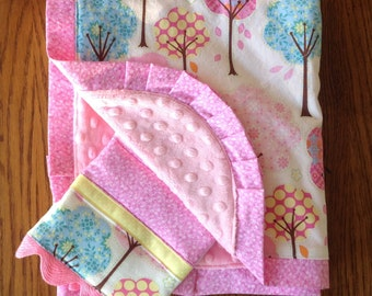 Spring Trees Blanket and Burp Cloth ...Ready to Ship